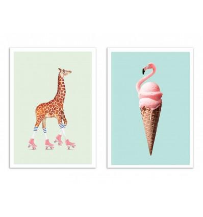 2 Art-Posters 30 x 40 cm - Duo Pop animals - Jonas Loose