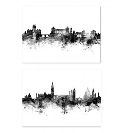 2 Art-Posters 30 x 40 cm - Skylines Rome and Venice - Michael Tompsett
