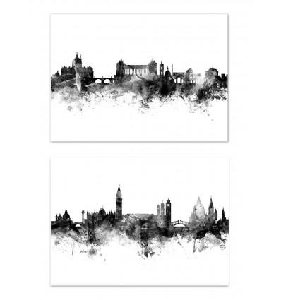 2 Art-Posters 30 x 40 cm - Skylines Rome and Venice - Michael Tompsett
