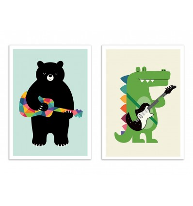 2 Art-Posters 30 x 40 cm - Duo Musician animals - Andy Westface
