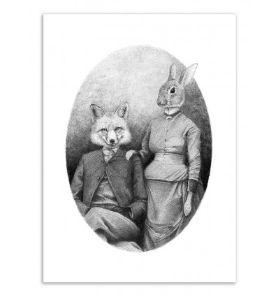 Art-Poster - The foxes - Mike Koubou