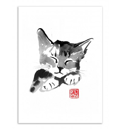 Art-Poster - Cute cat - Pechane Sumie