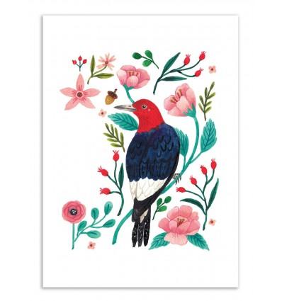 Art-Poster - Red headed woodpecker - Ploypisut