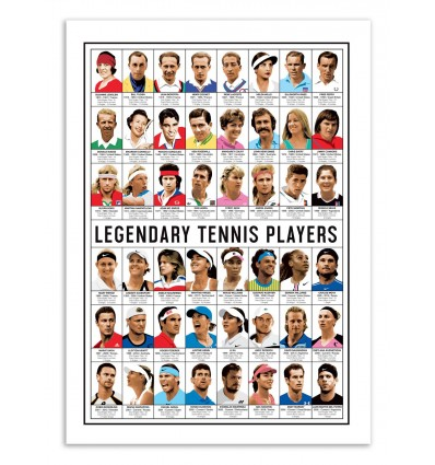 Art-Poster - Legendary Tennis Players - Olivier Bourdereau