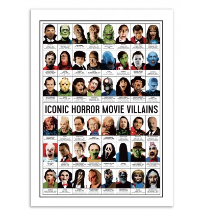 Art-Poster - Iconic Horror movies Villains - Olivier Bourdereau