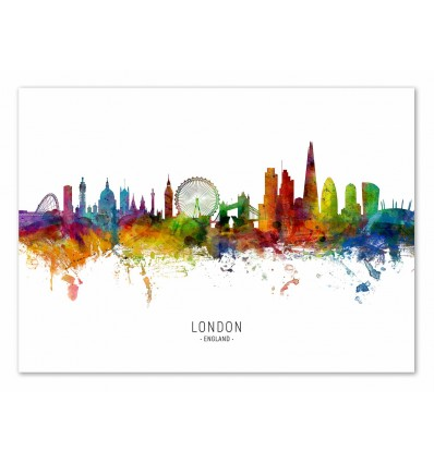 Art-Poster - London England Skyline (Colored Version) - Michael Tompsett