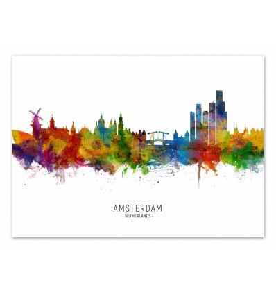 Art-Poster - Amsterdam The Netherlands Skyline (Colored Version) - Michael Tompsett