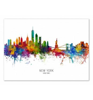 Art-Poster - New-York Skyline (Colored Version) - Michael Tompsett