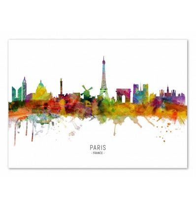 Art-Poster - Paris France Skyline (Colored Version) - Michael Tompsett