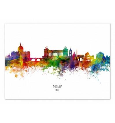Art-Poster - Rome Italy Skyline (Colored Version) - Michael Tompsett