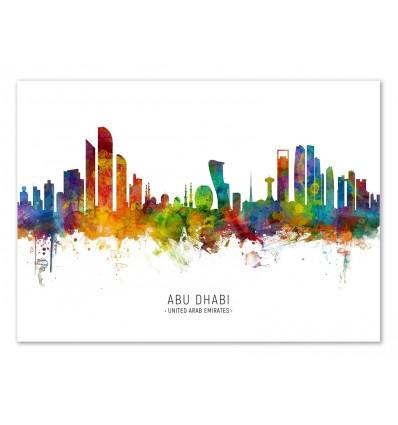 Art-Poster - Abu Dhabi Skyline (Colored Version) - Michael Tompsett