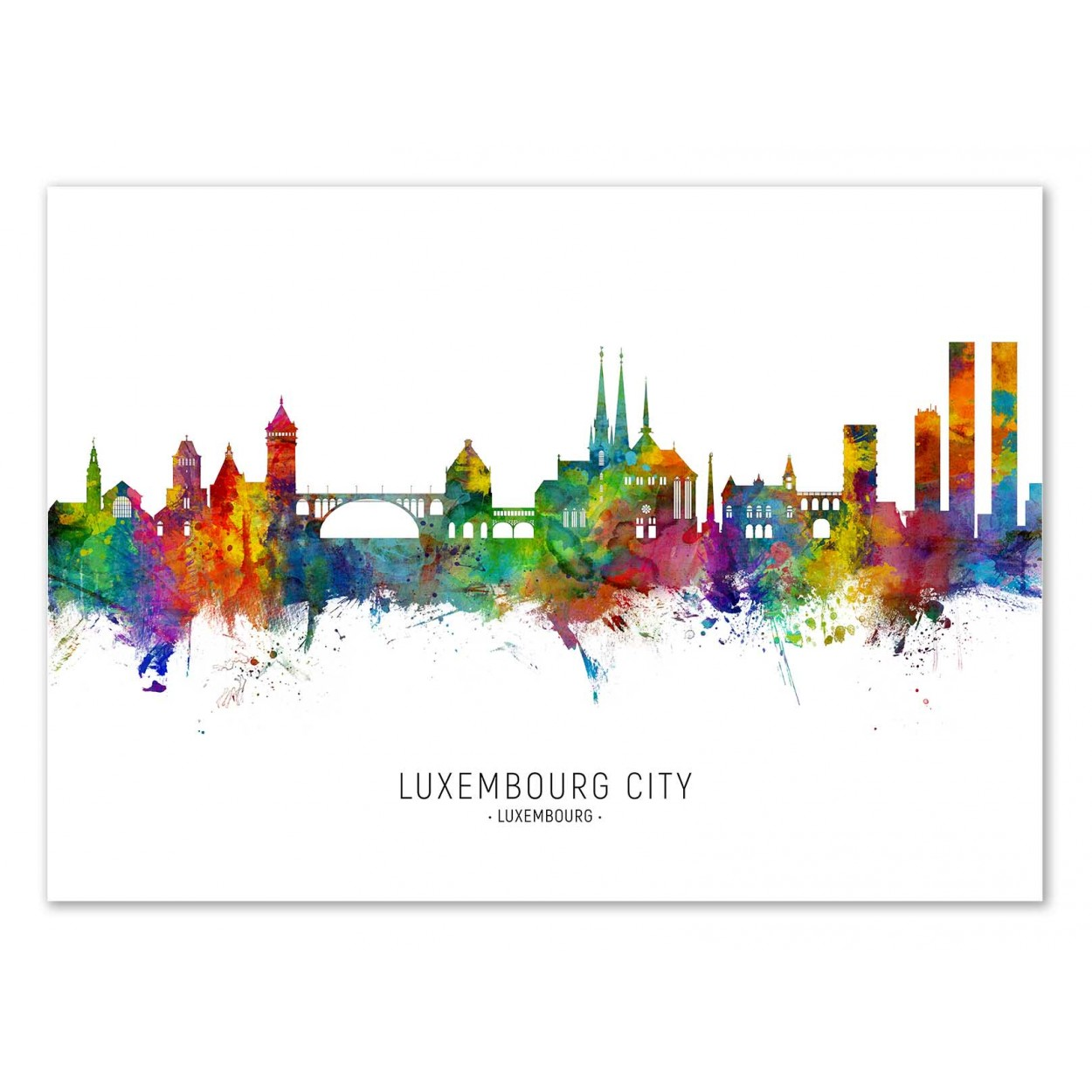 Art Poster Luxembourg City Skyline Colored Version By Michael Tompsett
